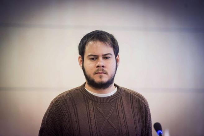 El rapero Pablo Hásel, durante un momento del juicio en la Audiencia...