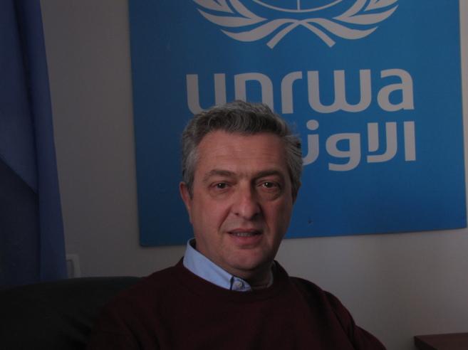 Filippo Grandi en la sede de la UNRWA.