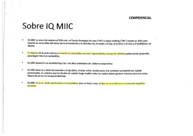 Extracto de la presentación confidencial de la estrategia del grupo...