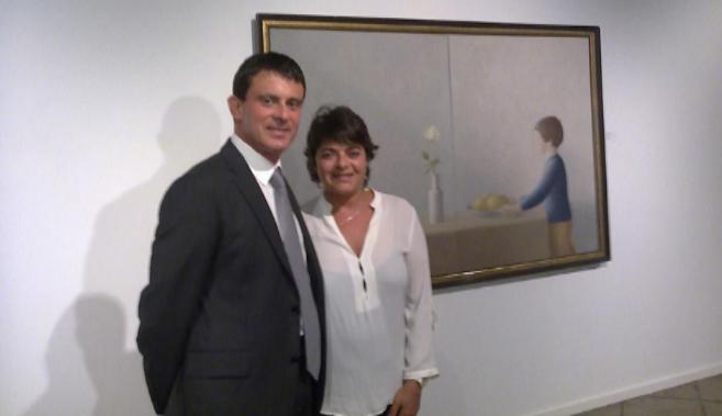Manuel y Giovanna, en una exposición de obras de su padre, el pintor...