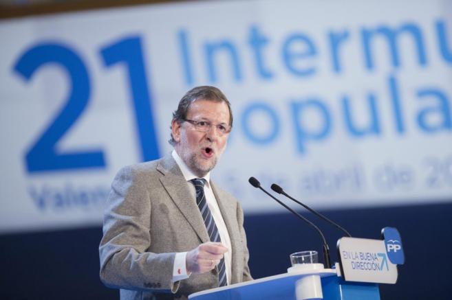 Mariano Rajoy, el sábado durante su intervención en la...