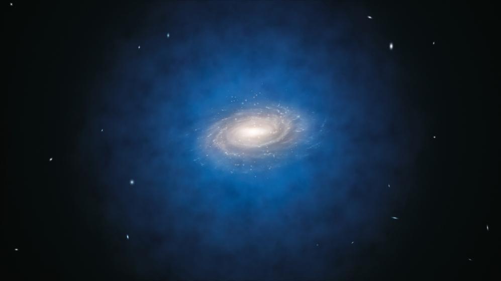 Representación artística del halo de materia oscura que rodea a la...
