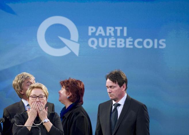 La líder del Partido Quebequés, tras reconocer su derrota en las...