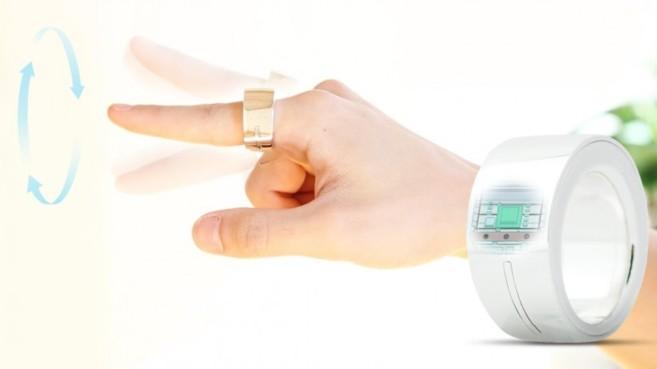 El anillo inteligente de Logbar que se comunica con los dispositivos...