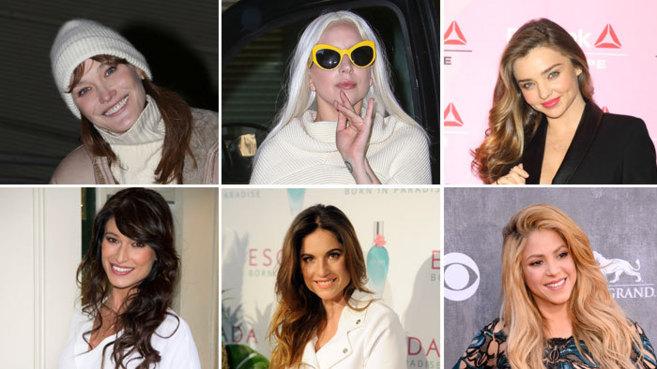 De izquierda a derecha y de arriba abajo, Carla Bruni, Lady Gaga,...