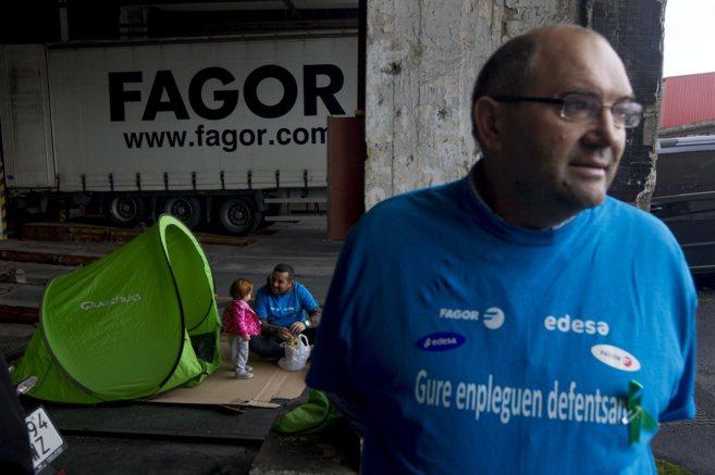 Trabajadores de Fagor en una de las protestas por el cierre.
