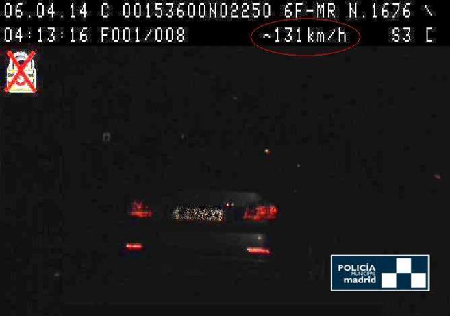 Imagen del coche cazado por el radar de la policía.