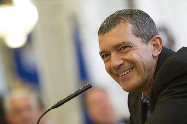 El actor Antonio Banderas, durante la firma de un convenio en Málaga...