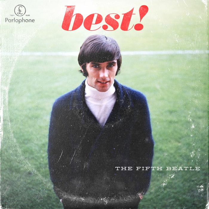 ¿El quinto 'beatle'? Un poco Gainsbourg, también, con esas patillas. De esta guisa aparece George Best, nacido en Irlanda pero jugador del Manchester.  De todos los futbolistas representados, es el único que no jugó una Copa del Mundo.