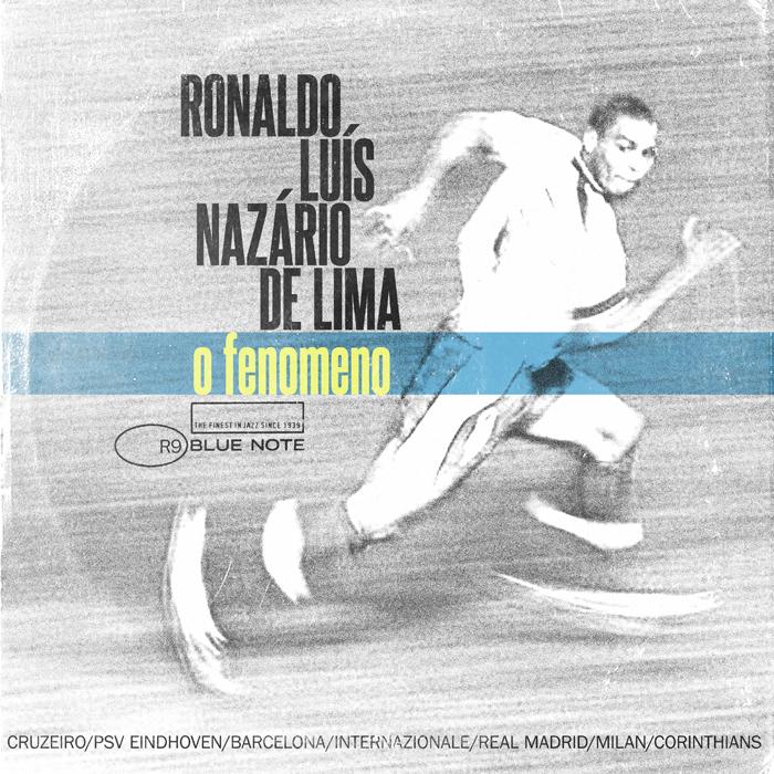 """El Fenómeno: Ronaldo Luis, Ronaldo. Al pie del disco, sus grandes éxitos: los equipos con los que jugó y con los que ganó varios títulos europeos. Ha sido uno de los máximos goleadores de la historia del fútbol.  Explica Taylor que ha tratado de evitar los 'clichés' en los diseños. """"Me gustan más los diseños minimalistas"""", reconoce."""