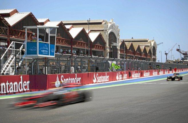 Imagen del circuito urbano de Valencia durante una carrera del GP de...