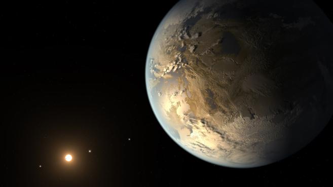 Recreación artística del planeta Kepler-186f y de la estrella enana...