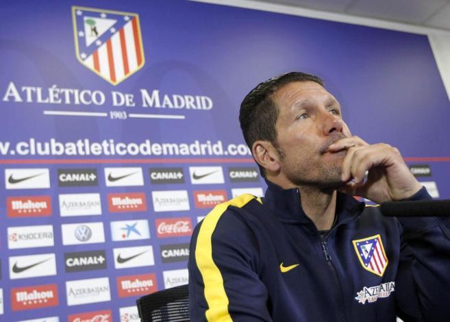 Diego Simeone durante la rueda de prensa previa al partido ante el...