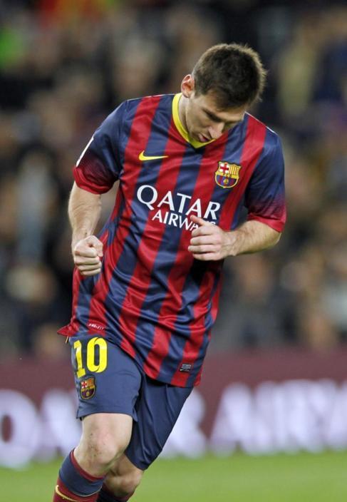 Leo Messi celebra su gol ante el Athletic.
