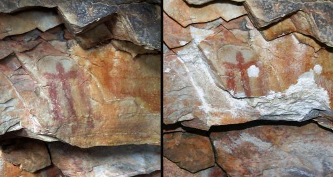 Antes y después del acto vandálico contra la obra rupestre.