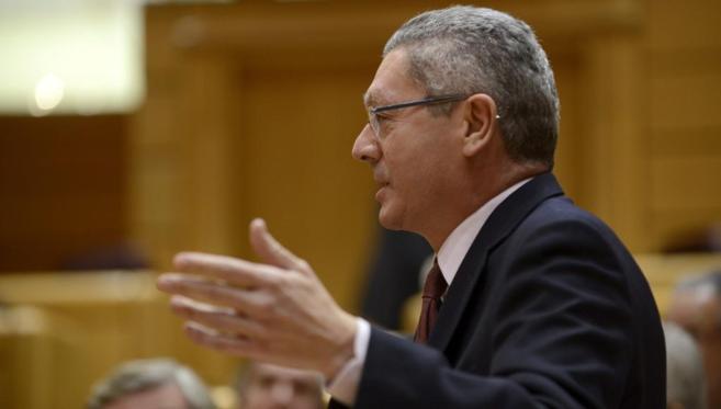 Alberto Ruiz-Gallardón, durante su intervención en el Senado.