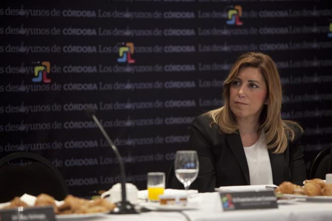 La presidenta de la Junta, Susana Díaz, durante un desayuno...