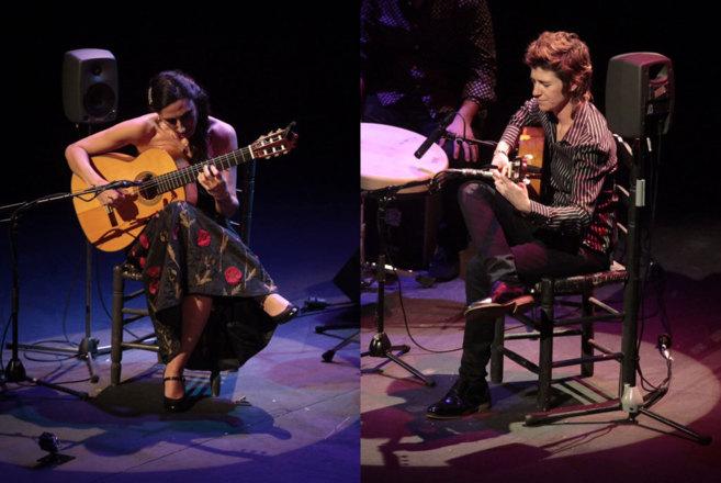 Las tocaoras Marta Robles y Antonio Jiménez, durante sus actuaciones.