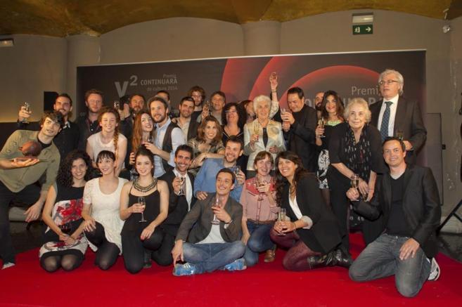 Los ganadores, durante la entrega del galardón.