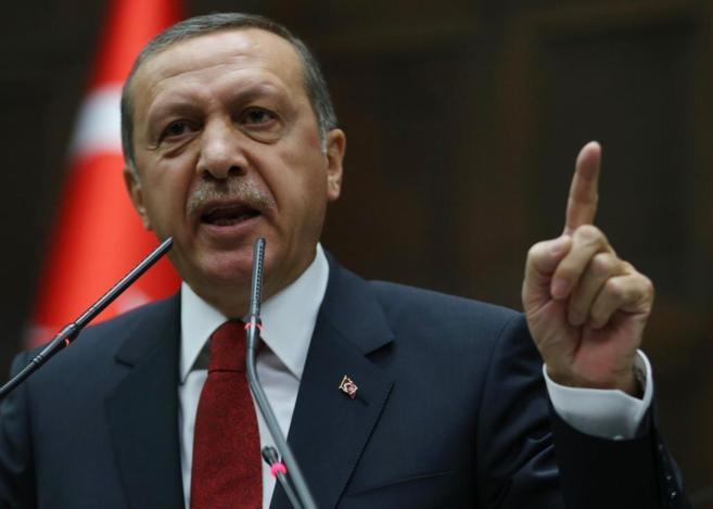 El primer ministro de Turquía, Recep Tayyp Erdogan, durante su...