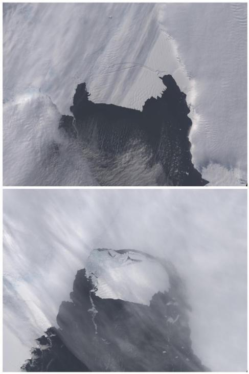 El iceberg B31, antes y después de desprenderse de la Antártida.
