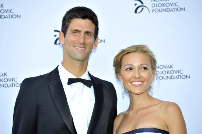 Novak Djokovic y su novia Jelena Ristic, el año pasado.