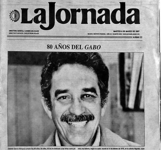 Portada de 'La Jornada' en la que aparece García Márquez...