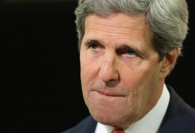 Jonh Kerry durante su rueda de prensa sobre la crisis en Ucrania.