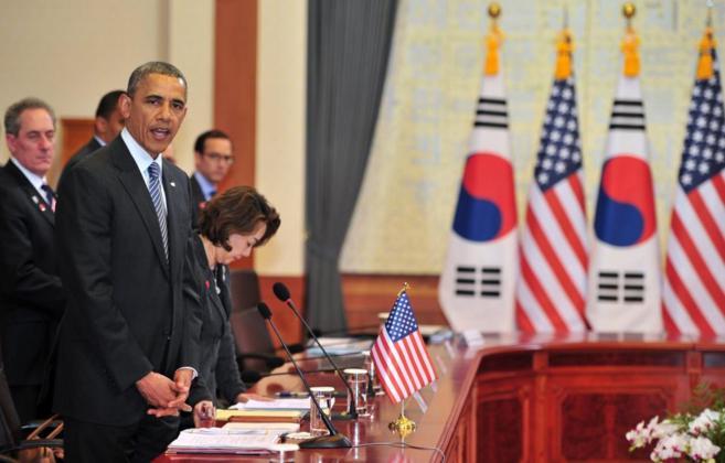 El presidente de EEUU, Barack Obama, durante su visita en Seúl.
