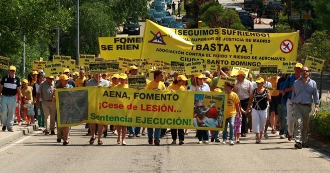 Vecinos de Santo Domingo durante una manifestación.
