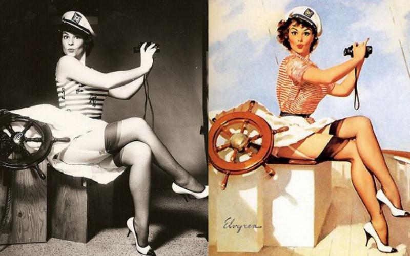 """Eran las chicas de calendario (""""pinned-up"""" significa colgada en la pared) aunque también se las llamo """"cheesecake"""" que, para los no golosos, significa tarta de queso. Imaginen el por qué. Gil Elvgren empezó su carrera en el 45 y terminó en el 72. En todo ese tiempo tuvo muchas modelos, algunas actrices tan famosas como Myrna Loy, Donna Reed, e incluso Kim Novak.  De hecho, en los años 50, actrices que estaban empezando en Hollywood iban a ver a Elvgren a su estudio y le pedían que las pintara para luego aparecer en los calendarios. La mujer de Elvgren,  Janet Cummings, también posó para él."""