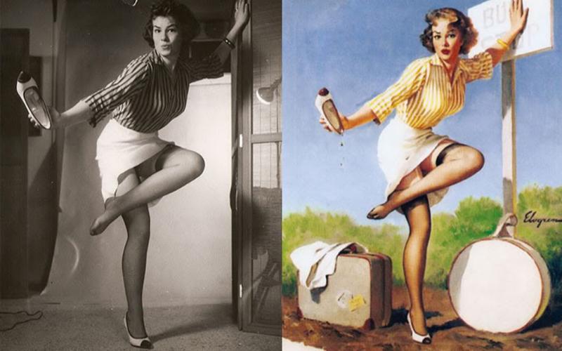 Las chicas pin-up tienen los labios rojos y la cintura estrecha. Sus piernas infinitas y desnudas terminan en un par de zapatos de tacón, incluso cuando acaban de salir de la ducha. Son todo curvas perfectas desde los rizos al pecho, de los muslos al tobillo. Cuando nadie se atrevía a hablar de sexo, allá por los lejanos y felices años 20, ellas se fueron quitando la ropa y posaron para la posteridad. Gil Elvgren (1914-1980) fue uno de los artistas que pintó a estas mujeres de carne y hueso.