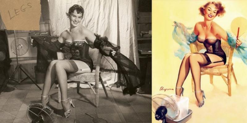 A partir de aquí, más imágenes que muestran, a la izquierda, la modelo y, a la derecha, el cuadro final.