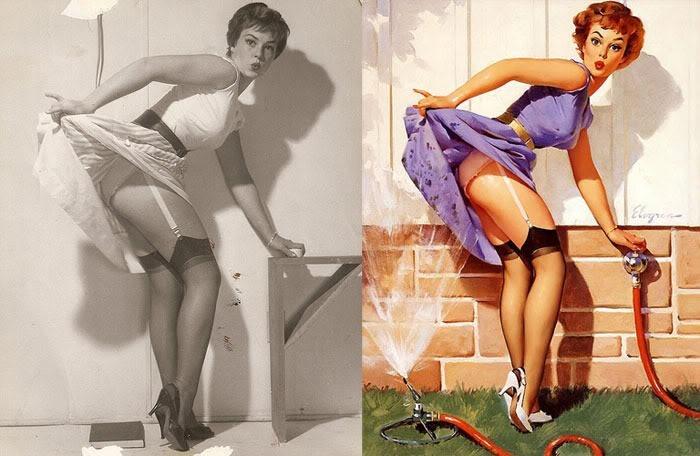 En los años 50, Elvgren, que ya empezaba a hacerse famoso por sus encargos publicitarios, se mudó con su familia a una casa más grande y decidió montar un estudio en el ático, que tenía unos grandes ventanales por los que entraba la luz, el pincel más poderoso. Aunque al principio trabajaba en solitario, al poco tiempo contrató a un asistente que le ayudaba a fotografiar a las modelos y que preparaba el decorado -modesto, sencillo- que luego el pintor transformaba.