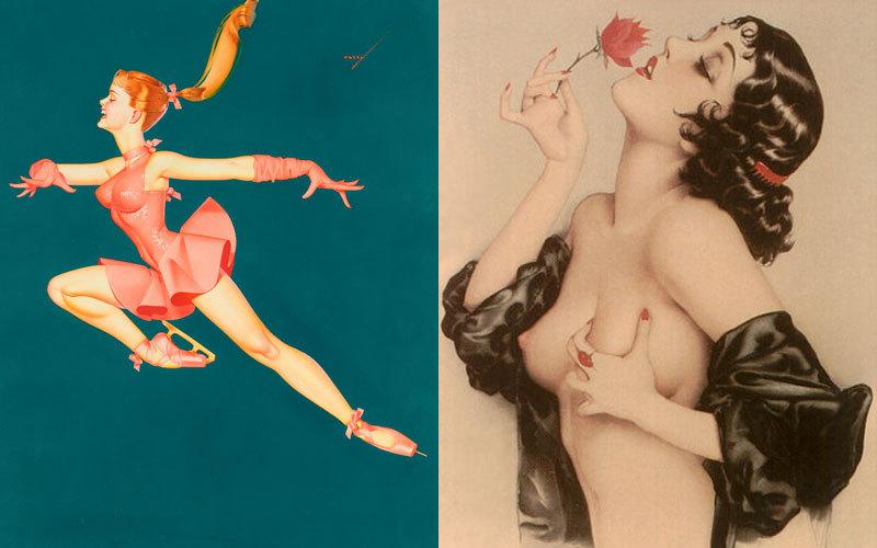 """""""La revista 'Esquire' [dirigida a un público masculino, principalmente] fue la primera en publicar ilustraciones pin-up, sobre todo de George Petty y Alberto Vargas"""", continúa relatando el ilustrador (y coleccionista 'pin up') Vicente. Aquellos dibujos dispararon las ventas de la revista. En la imagen, a la izquierda, 'La bailarina', ilustración de George Petty.  A la derecha, la actriz Olive Thomas dibujada por Alberto Vargas. Las chicas que pintaba eran conocidas como las 'Varga Girl' y también aparecieron en la revista 'Playboy'."""