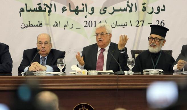 Abbas, durante su intervención en la reunión de la OLP.