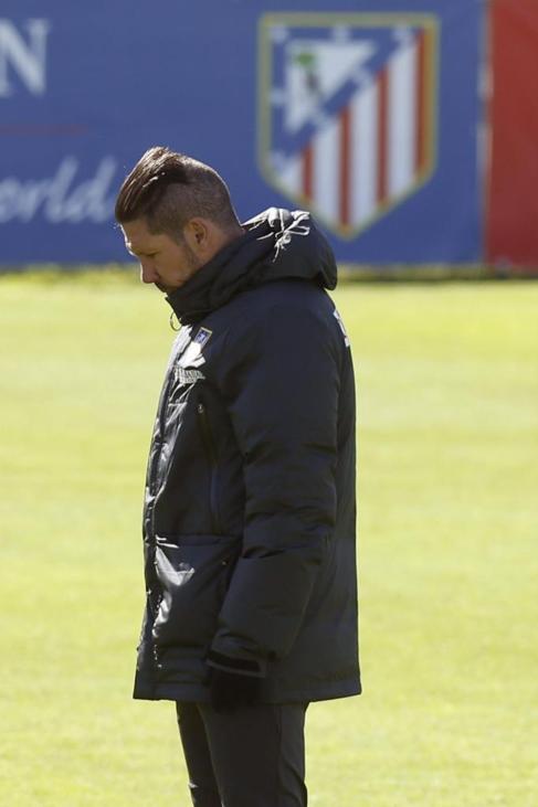 Simeone, durante el entrenamiento.