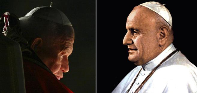 Imagen de los Papas Juan Pablo II (izda.) y Juan XXII (dcha.).
