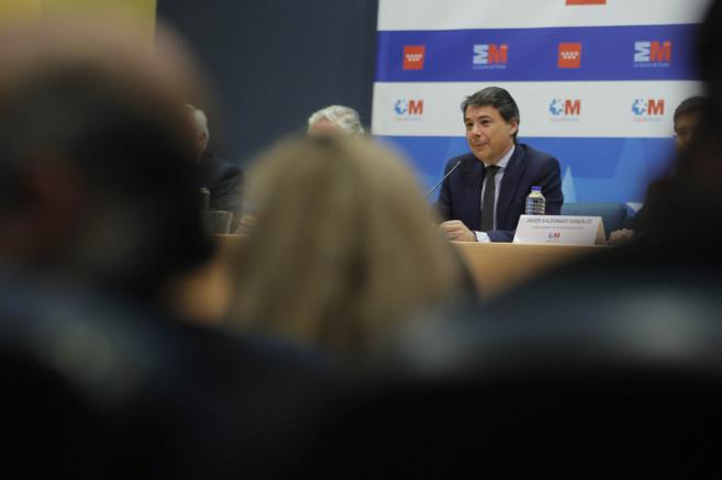 El presidente regional, Ignacio González, durante la presentación de...