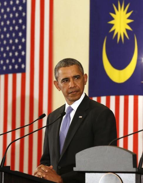 Obama, durante su rueda de prensa en Kuala Lumpur.