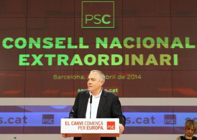 El primer secretario del PSC, Pere Navarro, ayer en un acto en...