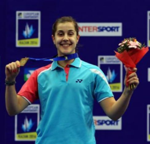 Carolina Marín, tras su éxito en el Europeo.