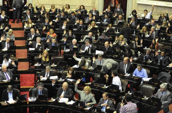 Vista general de la Cámara de Diputados de Argentina en la...