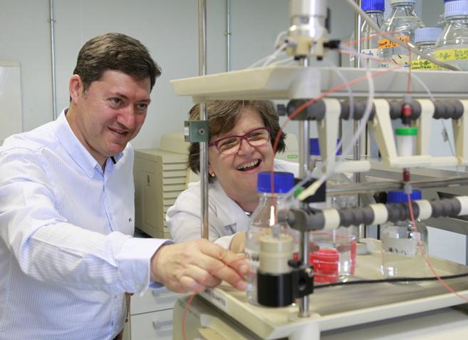 Luis Miguel Redondo y Ana Sánchez, en uno de los laboratorio del IBGM...