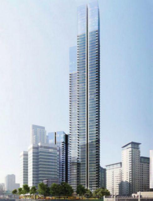 Simulación por ordenador del aspecto del rascacielos diseñado por...