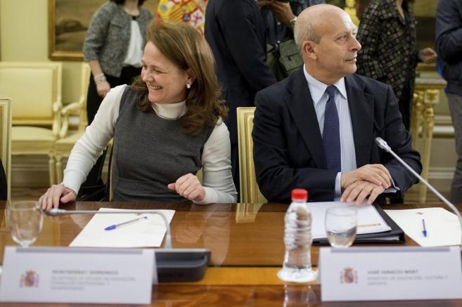 Montserrat Gomendio y José Ignacio Wert durante la Sectorial de...