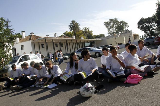 Alumnos de la Cónsula durante las protestas del pasado mes de...