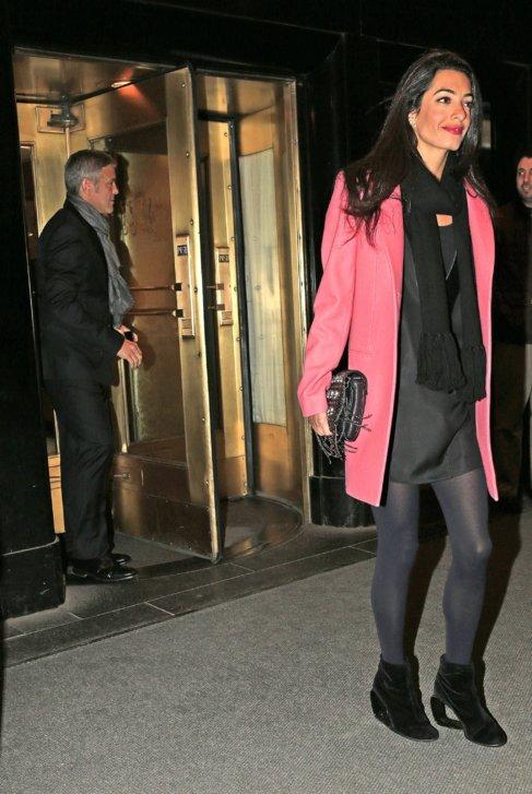 Clooney y Alamuddin, tras salir a cenar.