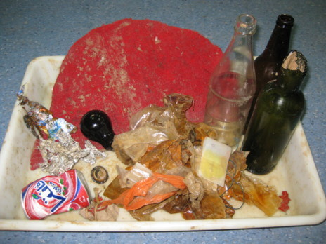 Se encontraron abundantes plásticos, botellas de vidrio, latas de...