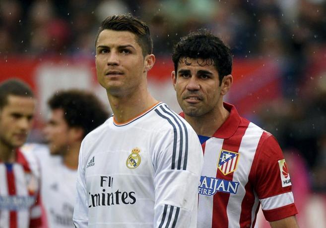 Cristiano Ronaldo y Diego Costa, en el último derbi en el Calderón.